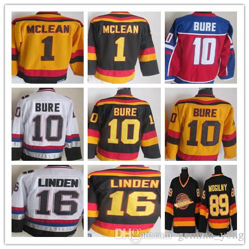 2019 Vintage 1 Kirk Mclean 10 Pavel Bure 16 Trevor Linden 89 Alexander  Mogilny Black White CCM Retro Vancouver Heritage Canucks Hockey Jerseys  From ... 93b393ed3