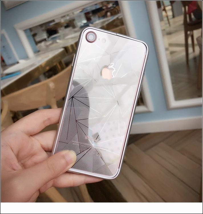 Cristal templado en color Diamond 3D para iPhone7 6s 6 6plus 5S Espejo protector de pantalla frontal y posterior Película con buena caja de venta al por menor