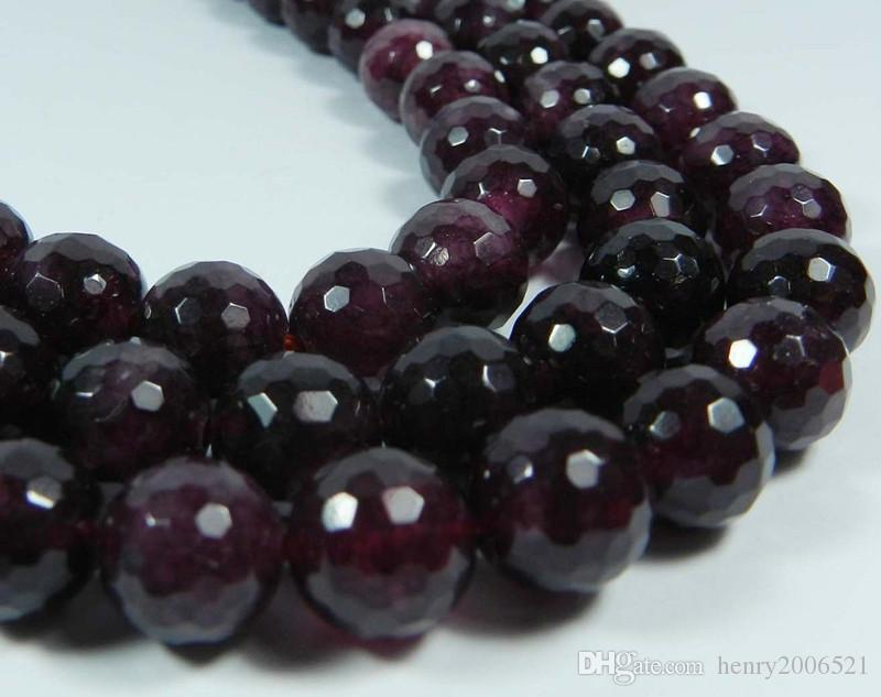 """to win warm praise from customers 100% Natural 4/6/8/10mm Faceted Red Garnet Gems Round Loose Beads Strand 15"""" AA"""