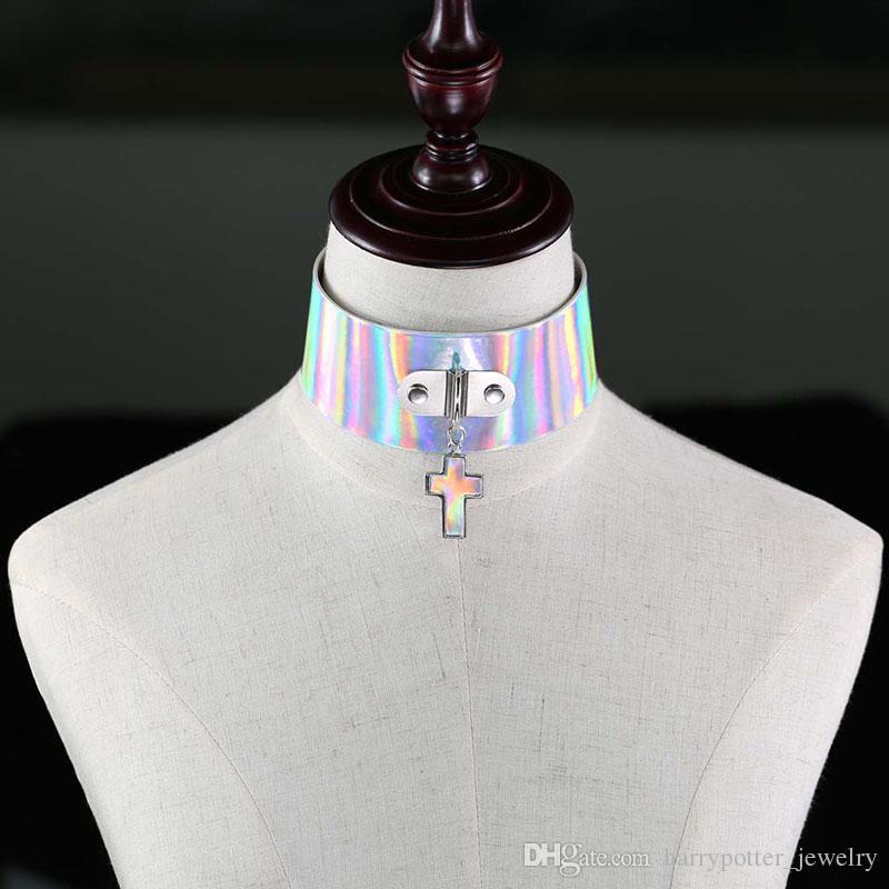 Gothic Harajuku Laser Gargantilla Collar Punk Cruz Colgante Collar de Cuero de LA PU Chockers Collar Regalos del Partido Para Mujer maxi drop ship 162207