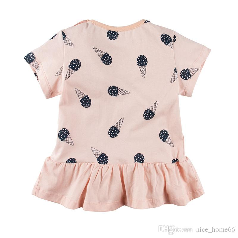 Girls Tshirts Baby Round collar Short Sleeve Crew Neck Summer Cotton Top wholesale Kids Tshirt costume clothing T-shirt