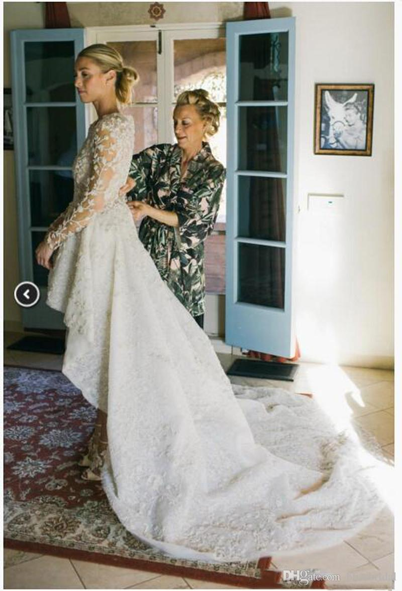 Full Lace High-Low Country Wedding Dresses Jewel Long Poet Sleeve Beach Wedding Dresses Zipper Back Sweep Train Bridals Gown