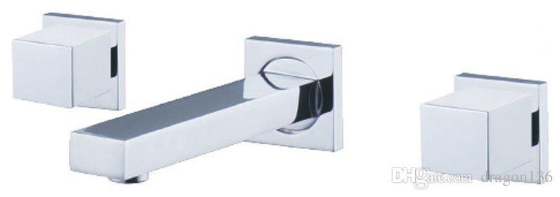 BLL 3-piece Waterfall Basin Brass Faucet Wall-mounted Solid Brass Thicken Chrome Tap 02913