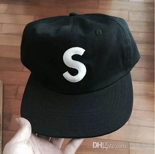 Black S Logo 6 Panel Cap New Super Snapback Caps Flat Hat Hip Rapper  Baseball Cap S Letter Casquette Hats Bone Gorras Strapback Cool Caps Flat  Brim Hats ... be4f7c6628f