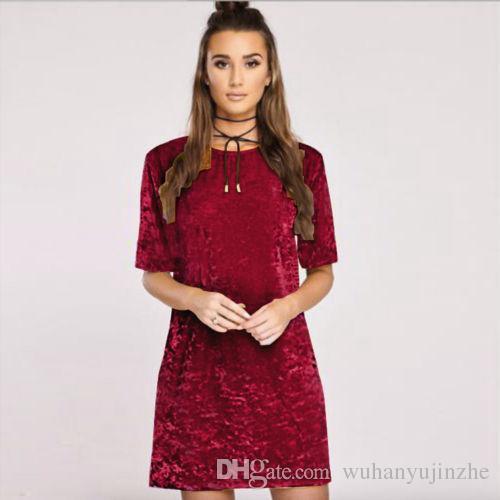 10 Yeni Tasarım Artı Boyutu Bayan Bayanlar Ezilmiş Kadife Casual Tops T Gömlek Gevşek Uzun Üst Bluz Elbise CL183