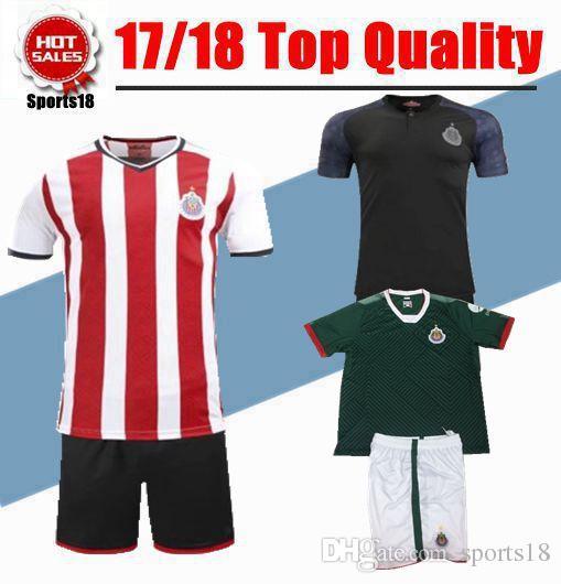 e54167ae5f6 2017 2018 kids chivas kits mexico club youth boy soccer jerseys 17 with  shorts uniform football
