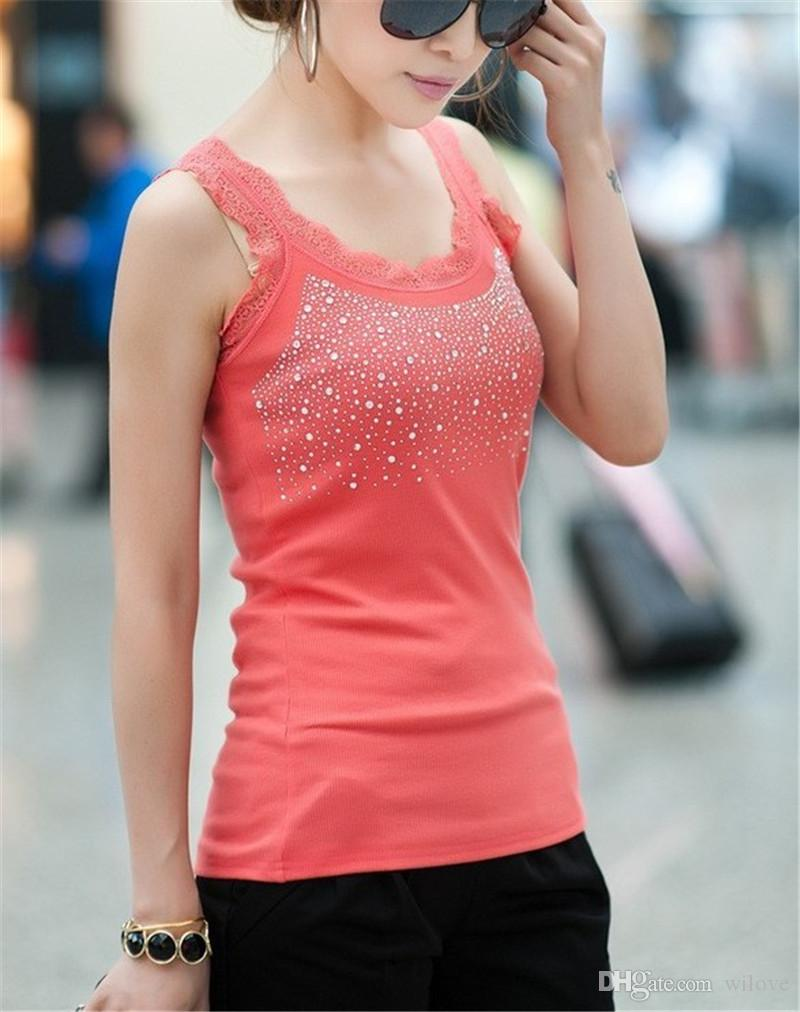Sexy Women's Camis Black Cotton Fashion T-shirts Fashion Lace Beaded Tank Tops Shirt Clothes Wear Camis