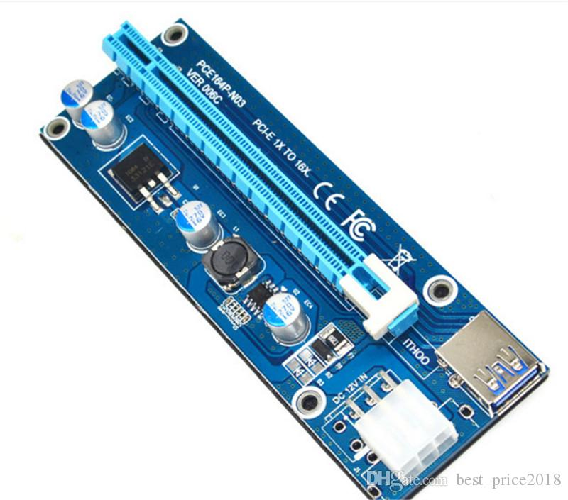 PCIe PCI-E PCI Express Riser Card 1x to 16x USB 3.0 Cable SATA to 4Pin IDE Molex Power Supply for BTC Bitcoin Litecoin Miner Machine