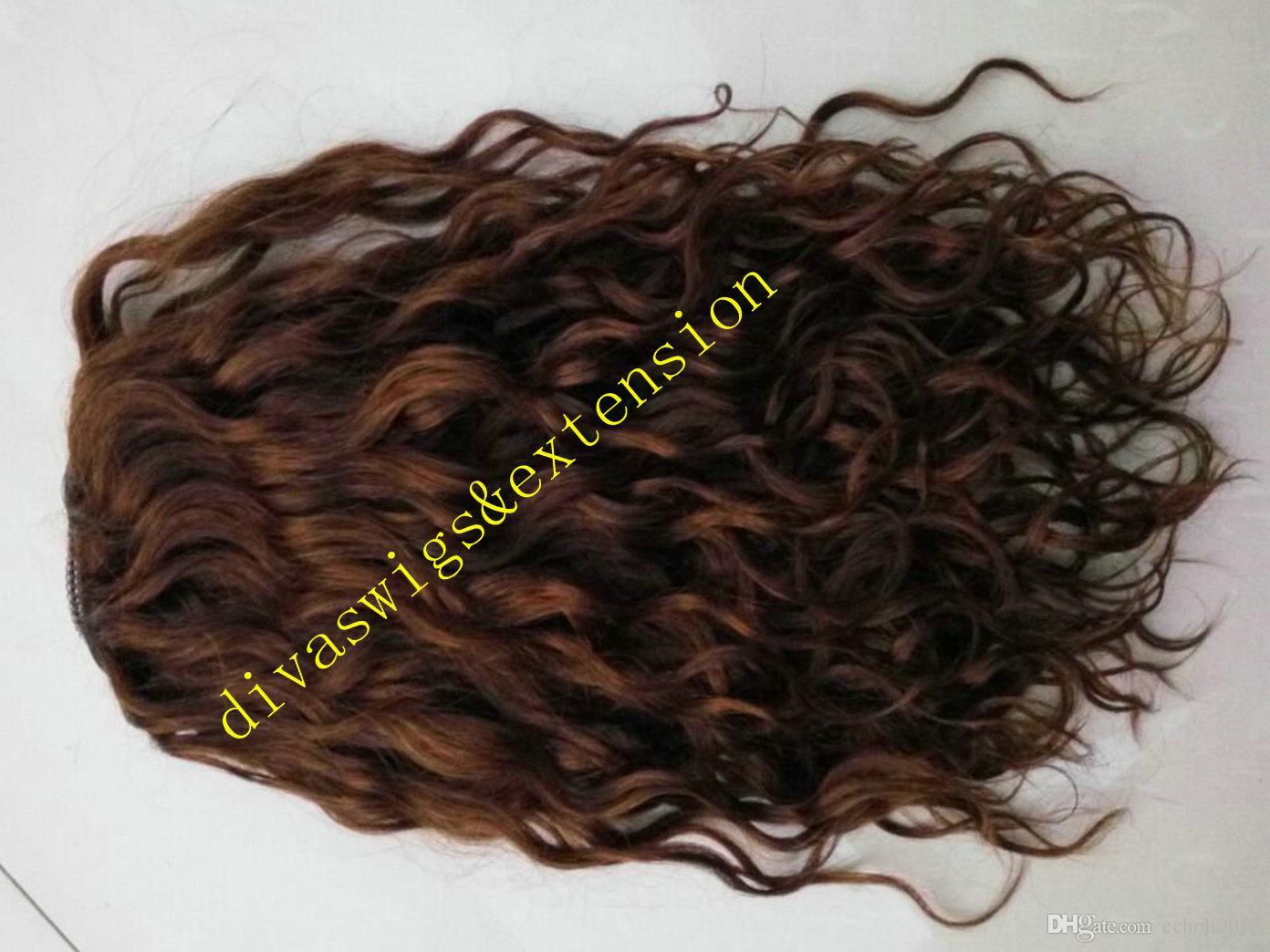 Bellezza naturale capelli ondulati puff remy Capelli umani Coda di cavallo Estensioni Capelli Vergini brasiliani Coda di cavallo parrucchino con coulisse marrone # 4