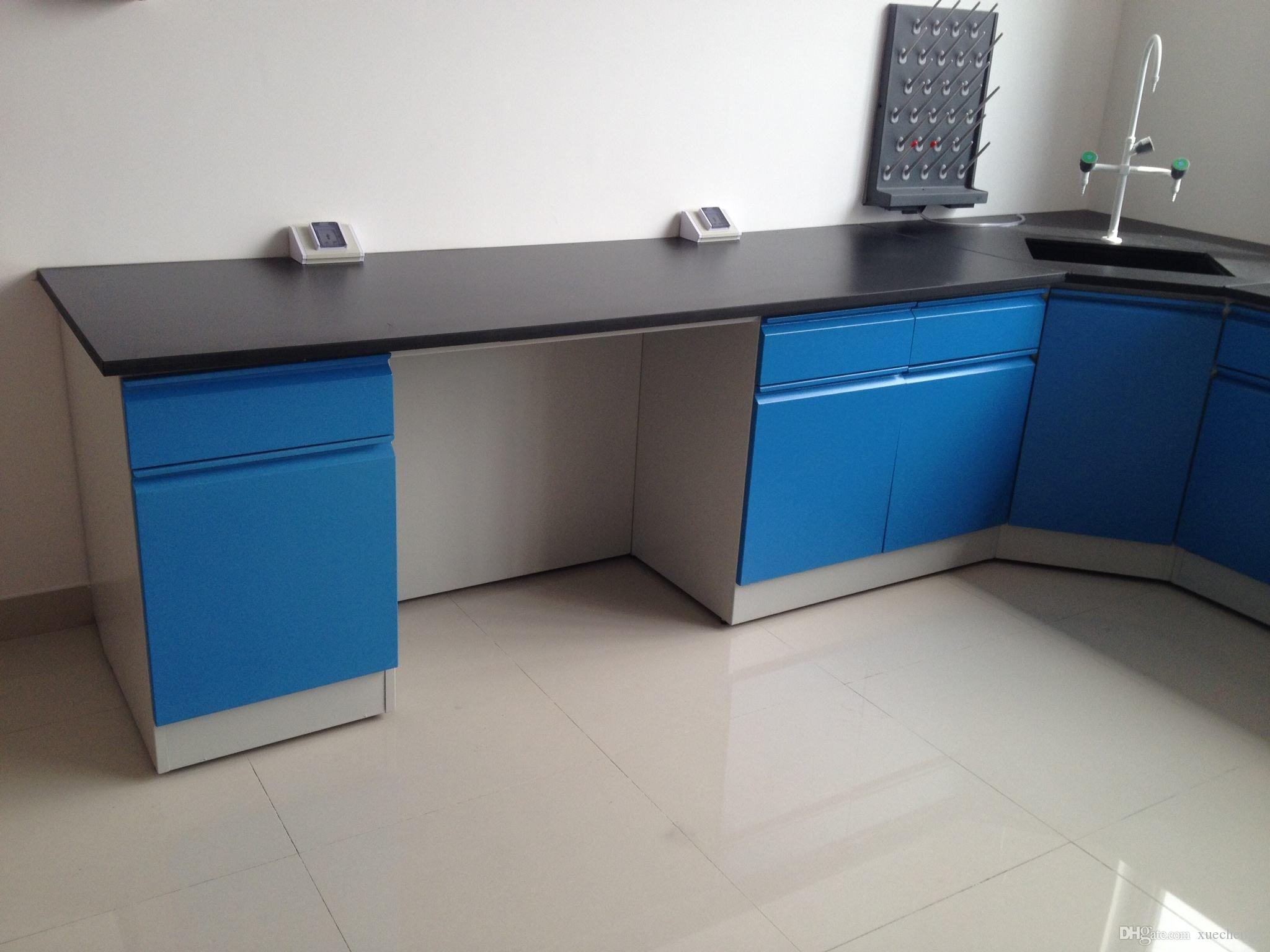 Customizd Medcial Laboratory Chemical Side Lab Table Steel Laboratory Wall  Bench 4800x750x850mm