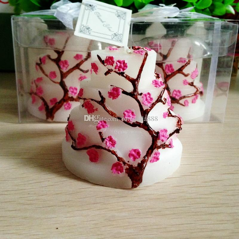 Sakura Cake Candle Wedding Birthday Supplies Creative Baby Shower Party Favor Wintersweet Plum Blossom Shape Candles 50th Favors