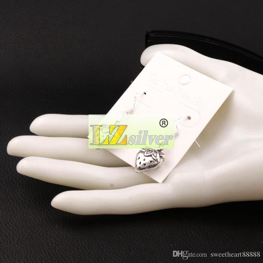 3D 딸기 샹들리에 귀걸이 925 실버 물고기 귀 후크 / e937 14.4x37mm