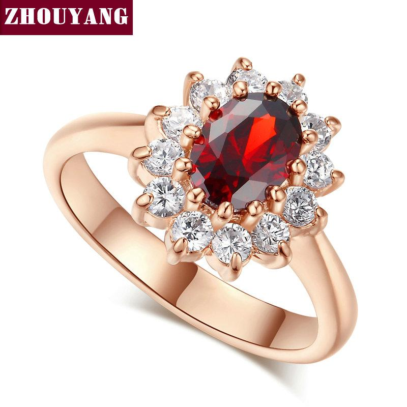 Best Top Quality Zyr187 Red Crystal Created Ruby Wedding Ring Rose