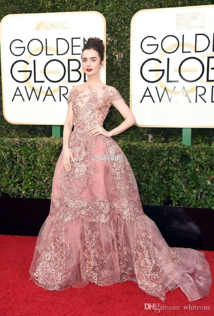 Zuhair Murad 2017 Formal Celebrity Evening Dresses Sheer Neck Lace Appliques Short Sleeves Red Carpet Prom Gowns In 74th Golden Globe Awards