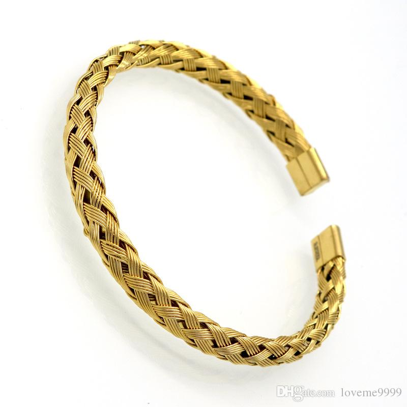 Wholesale Luxury Stainless Steel Twisted Chain Cable Bracelet Men Gold Plated Open Cuff Bracelets Bangles Plait wire Jewelry