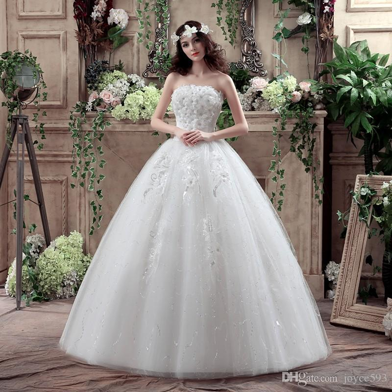 Weeding Dress 2017 New Arrival Crystal Ball Gown Sweet Flowers Peals ...