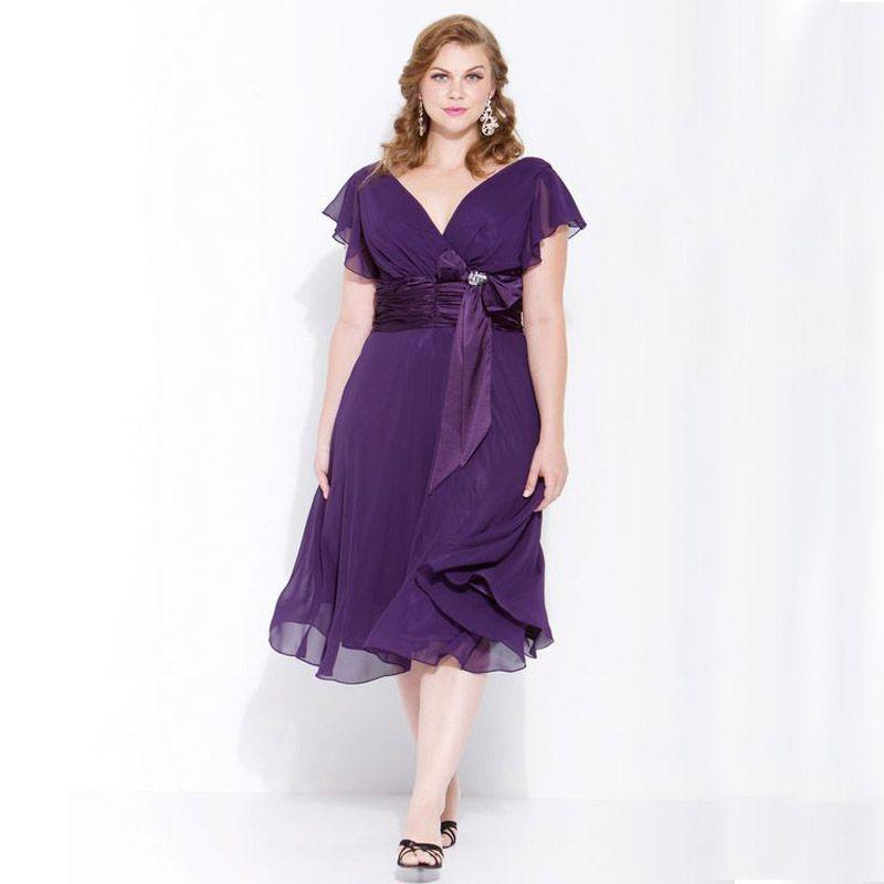 5445e4880 Großhandel Lila Chiffon Mutter Der Braut Plus Size Kleider Eine Linie V  Ausschnitt Tee Länge Hochzeit Kleid Mit Rüschen Ärmeln Von Weddingfactory