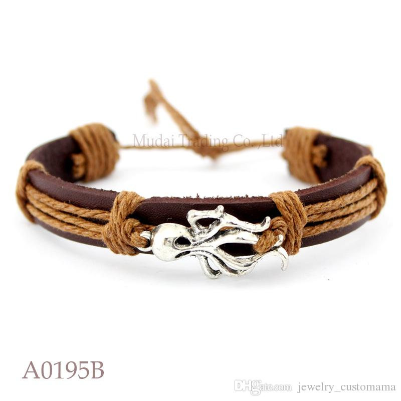ANTIQUE SILVER Seashell Conch CHARM Adjustable Leather Cuff Bracelets Seaside Ocean Friendship PUnk Casual Wristband Jewelry