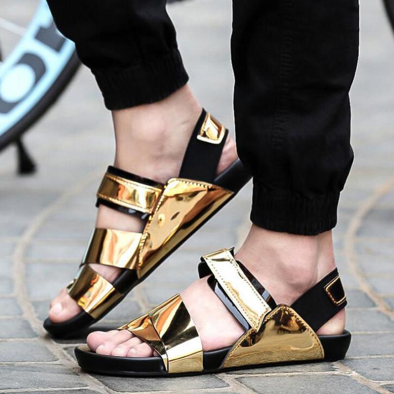 6c22d9b0f649a8 Wholesale-2016 Summer Men Sandals Gold PU Leather Sandals Men ...