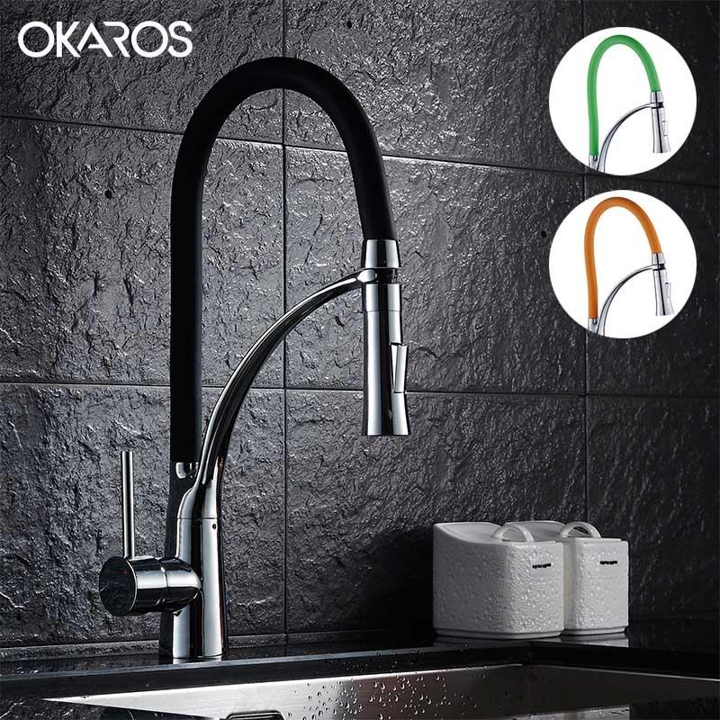 2018 Okros Pull Out Kitchen Faucet Black Chrome Finish Dual Sprayer Nozzle  Cold Hot Water Mixer Bathroom Faucet Torneira Cozinha From Lilingainiqi, ...