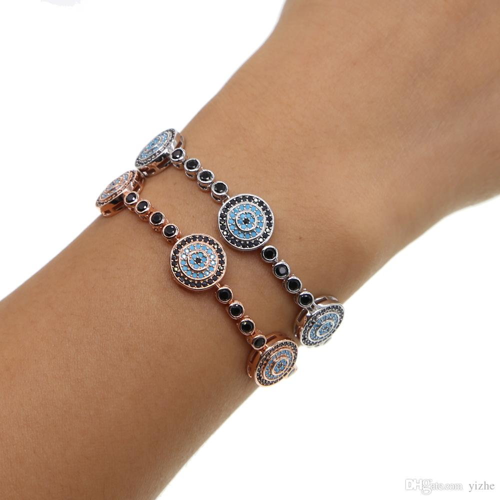 Fit pandora gioielli moda micro pavimenta cz turchese pietra malocchio fascino regolare ragazza gioielli nero cz tennis braccialetto