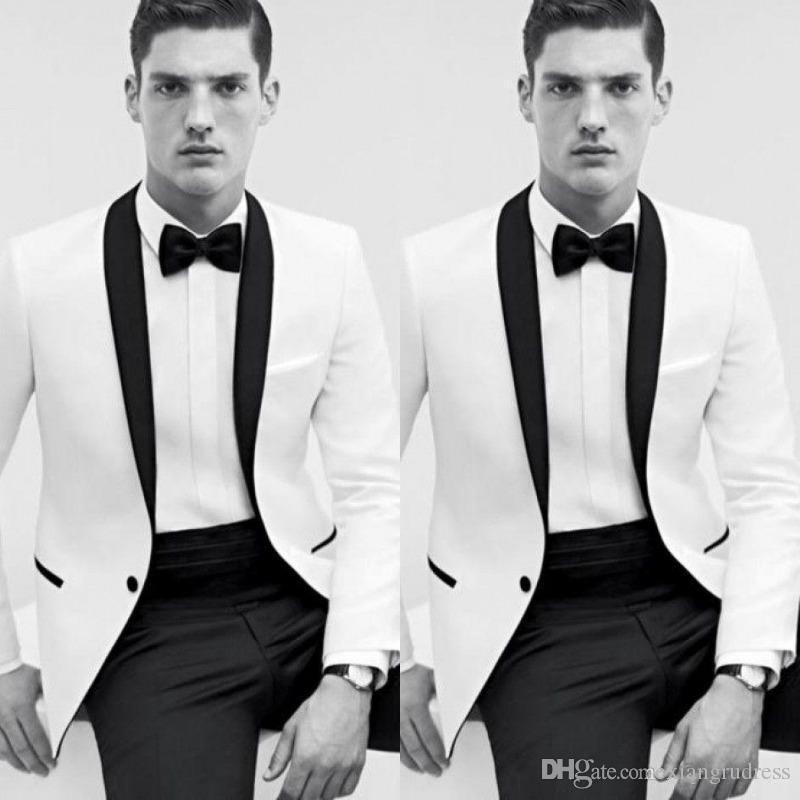 2018 pas cher classique noir et blanc mariage smokings Bestmen Groom smokings formelles costumes hommes d'affaires porter veste + pantalon Livraison gratuite