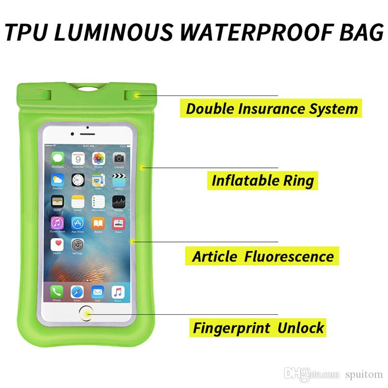 Spuitom Universal Waterproof Bag Unlock Touch ID Fingerprints Water Resistant Pouch Inflatable Ring for iPhone Samsung Galaxy Smartphone