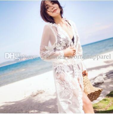7151a73ec7 Summer Beach Bikini Cover Ups Women Crochet Lace Embroidery Long ...