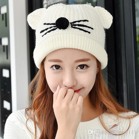 Women S Acrylic Cat Ears Knit Black Beanie Hat Warm Winter Hats For Women  Solid Color Beanie Skull Caps Cat Ears Hat LA340 Straw Hat Baseball Cap  From ... f084a27275b