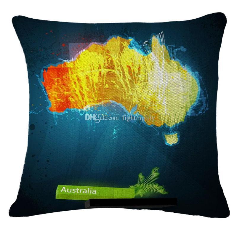 World Map Printed Decorative Pillows for Car Cushions Linen Throw Pillows Waist Office Casual Cojines Sofa