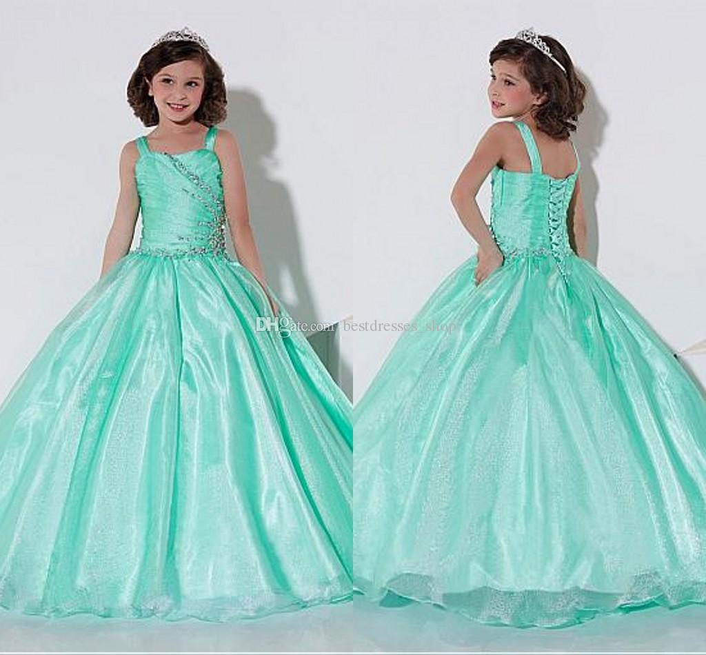 2017 Modest Mint Green Beaded Girls Pageant Dresses Ball Gown