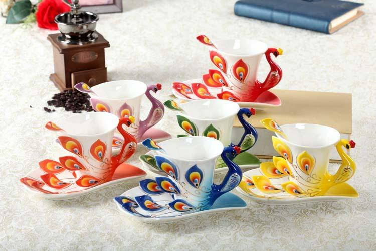 3d peacock ceramic coffee mugs coffee tea cup sets for friend gifts 1 porcelain 1 saucer 1 spoon from dhgatecom