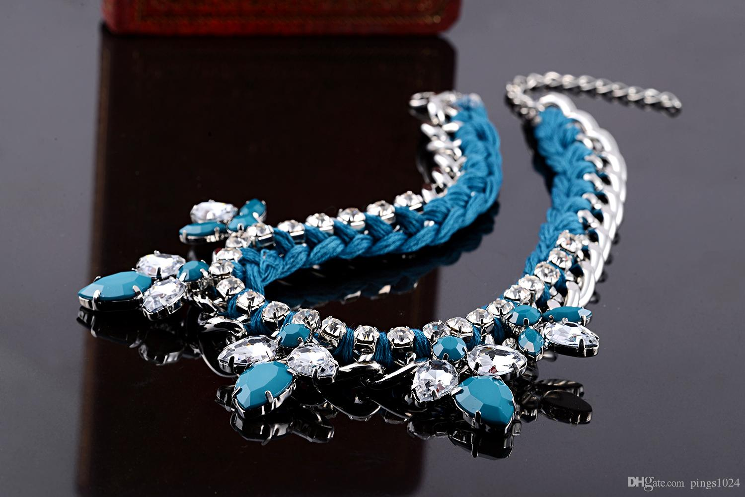 ROXI Brand Necklace Pendant For Women Fashion Jewelry Blue Rhinestone Brilliant Rope Necklace Fancy For New Year Christmas Gift
