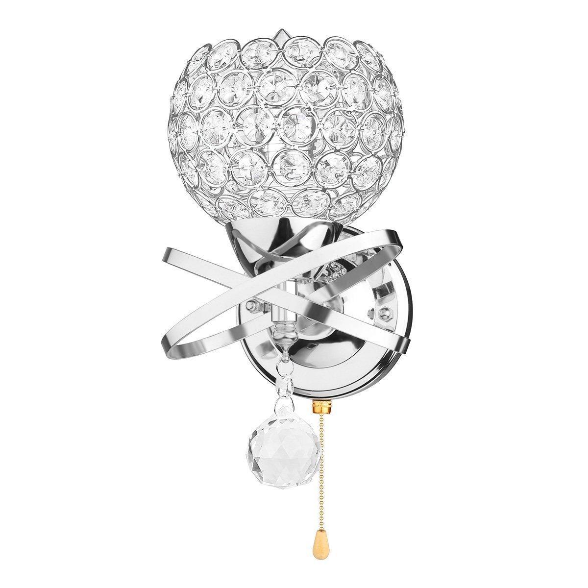 Lámpara de pared cristalina clásica de la pared de la vendimia Lámpara de pared cristalina de la pared de la plata / del oro 110V Lámpara de pared de 220V con el interruptor de tirón Accesorio de iluminación