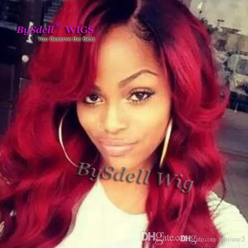 Hot Sales claret wine red silk ombre black root Silver Synthetic Lace Front Wig Glueless wigs for women