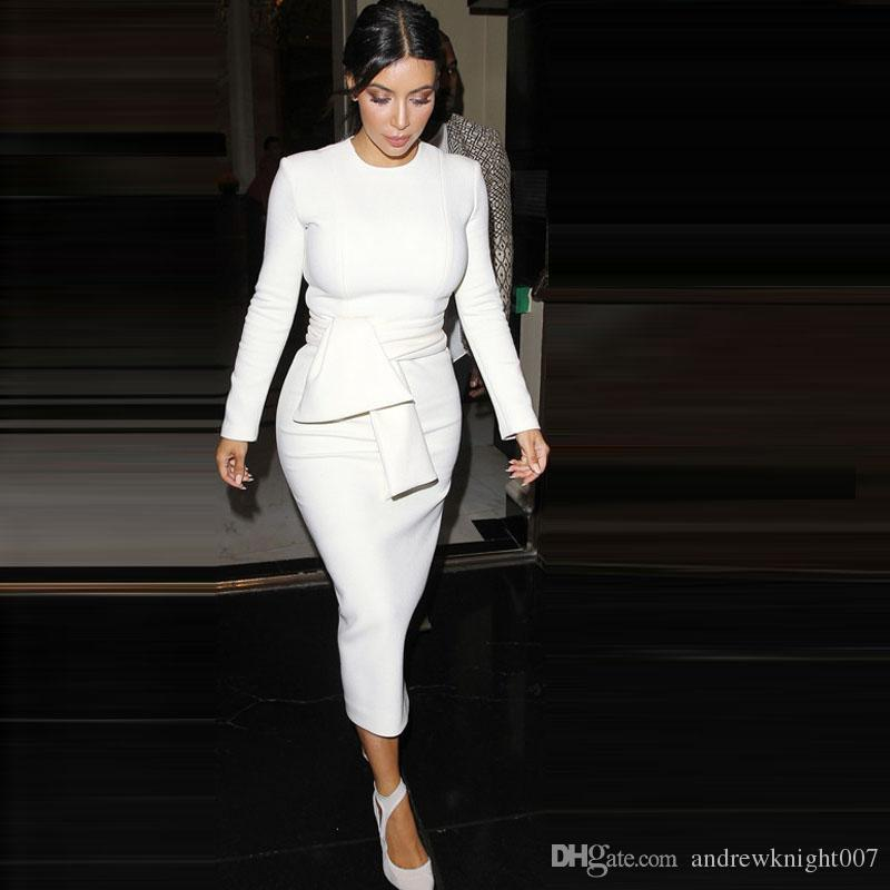 9c37c56fe14d 2019 Kim Kardashian White Bodycon Dress Long Sleeve O Neck Maxi Dress Plus  Size Party Wear DK7915QT From Andrewknight007