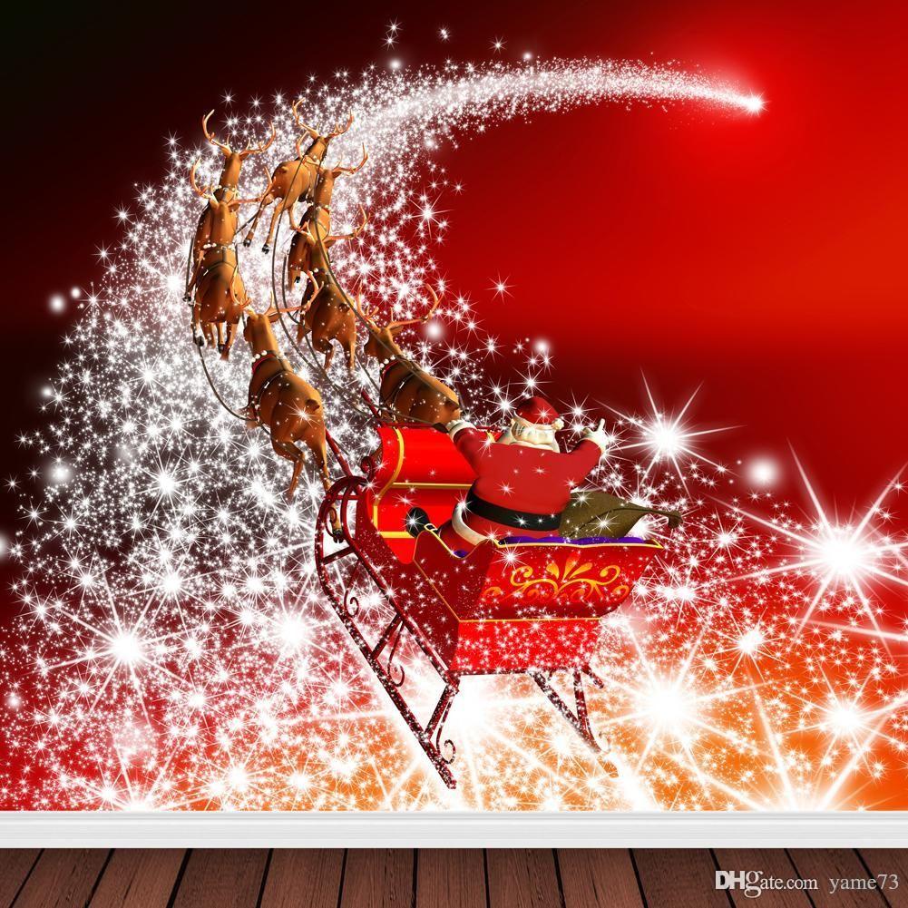 2019 5x7ft vinyl red christmas santa claus reindeer photography