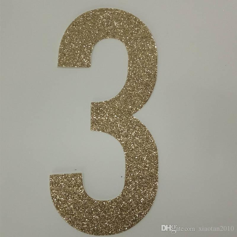Hot sale gold glitter paper number 3 Decor Festive Birthday Party New Year,Christmas ,Cake