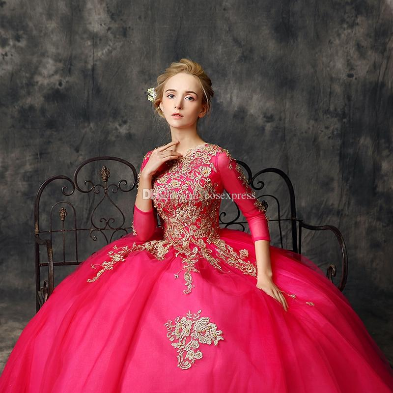 Real Photo Luxury 2017 Rose Red Mesh O-Neck Long Sleeve Floor-Length Dresses Gold Embroidery Pattern Evening Party Ball Gowns