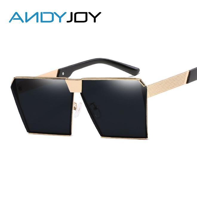 e547a73f169 Wholesale ANDYJOY Fashion Square Steampunk Sunglasses Men Oversize Metal  Mirror Sun Glasses Women Brand Designer Flat Panel Lens UV400 Sunglasses  Eyeglasses ...