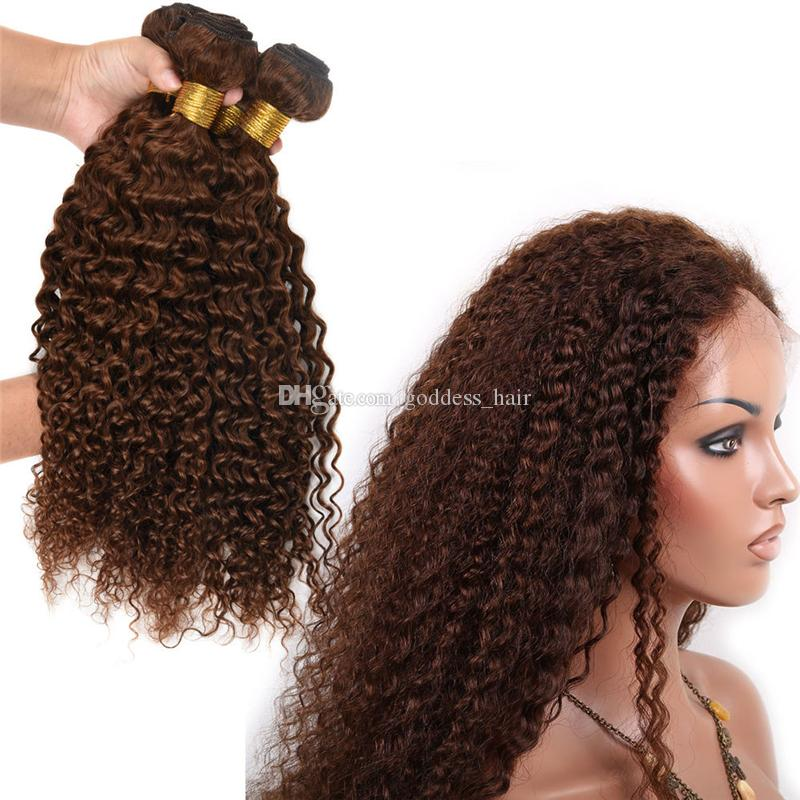 Kinky Curly Color # 4 Extensiones de Cabello Marrón Oscuro Chocolate Marrón Virgen Trama de Pelo 3bundles Doble Wefted Curly Hair Extension