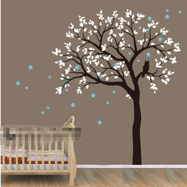 Diy Large Size Tree Owl Hoot Star Nursery Wall Stickers Removable ...
