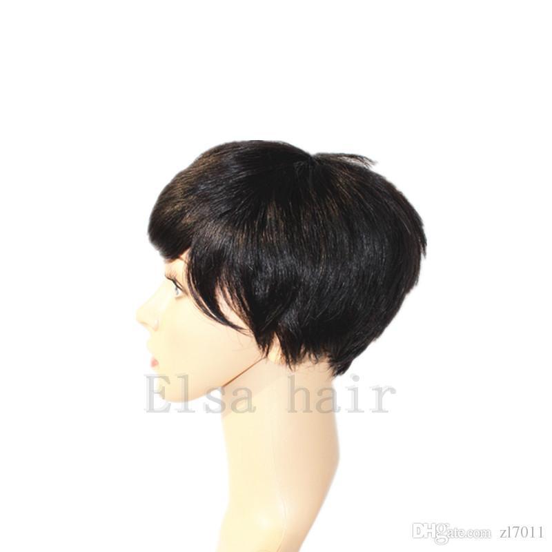 Brasileiro Full Lace Frente Bob cabelo humano peruca com cabelo do bebê Pixie corte peruca do laço bob cheia do laço Pixie Corte Curto Perucas de Cabelo Humano Para As Mulheres Negras
