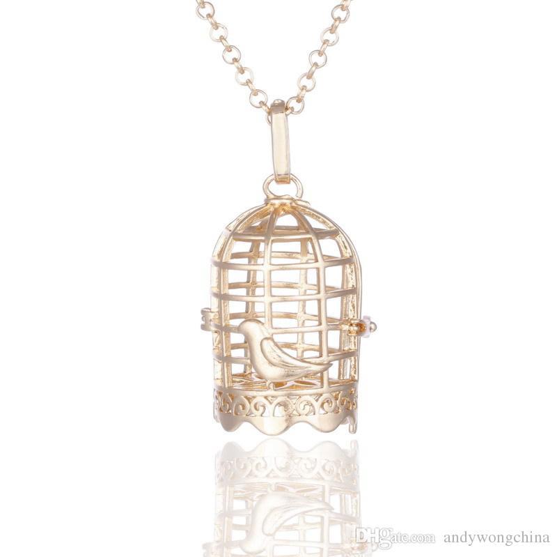 Pearl Cage colgante, ahueca hacia fuera la forma perla / cristal / Gem Beads Locket, cobre hueco jaula colgante, puede abrir bricolaje Fitting, collar de la mujer