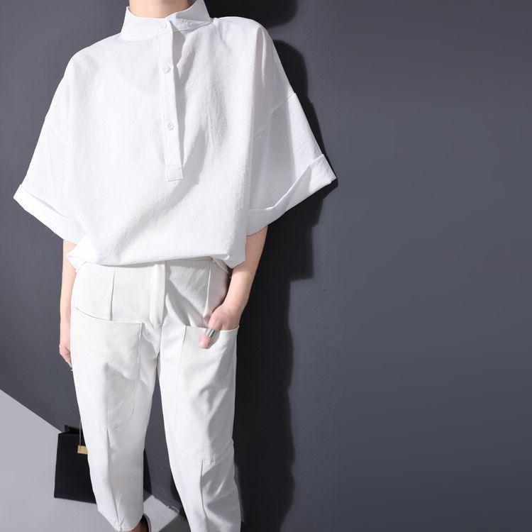 Printemps Été Mode Nouveau Blanc Noir Couleur Solide Chemise Lâche Bouton Stand Col Batwing Manches Tops Femme