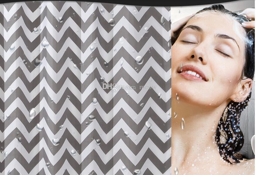 Полосатая Плесень Свободная Водоотталкивающая Ткань Занавески Для Душа Серый Серый Белые Волны Мода Геометрический Дизайн