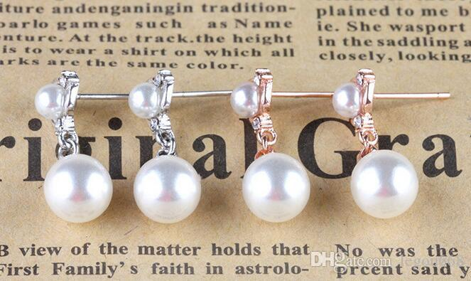 Südkorea Stern Modelle Perle importiert Diamant Doppelkugel Silber Ohrringe weibliche Ohrringe