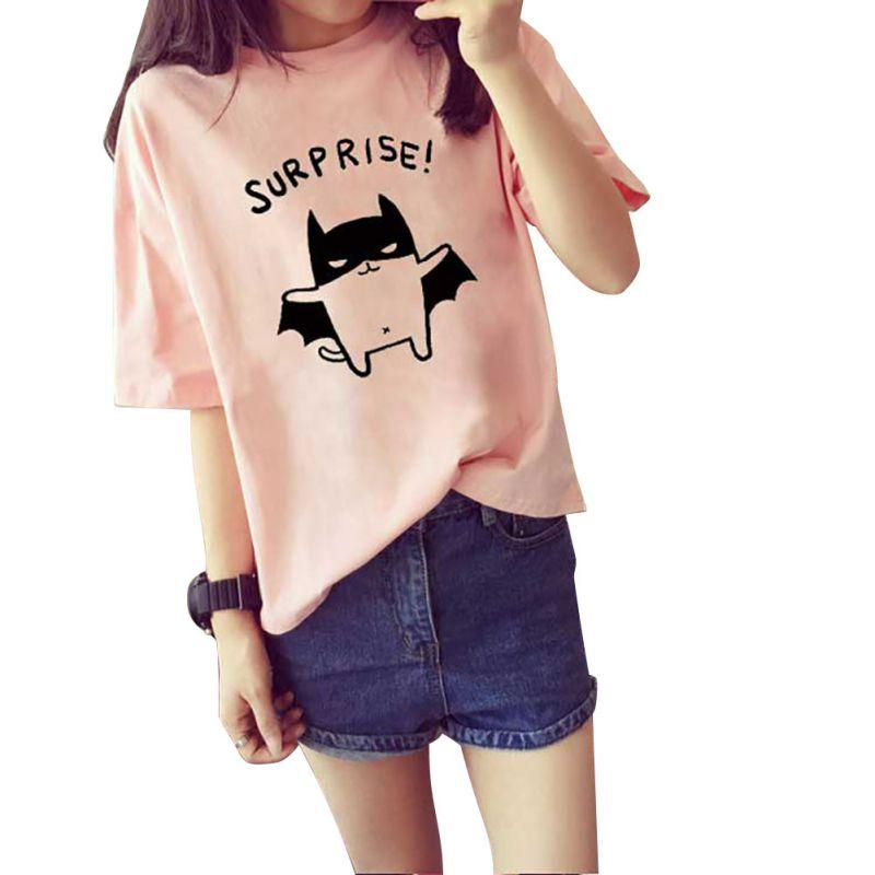 7257b8ad50d COCKCON Bat Fashion Women's Summer T-Shirt Clothes Shirt O-neck Batman  Cartoon Printed Tops