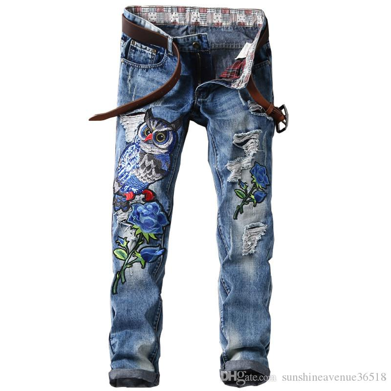 b1644b61192 New Patchwork Ripped Patches Men Jeans Slim Fit Eagle ...