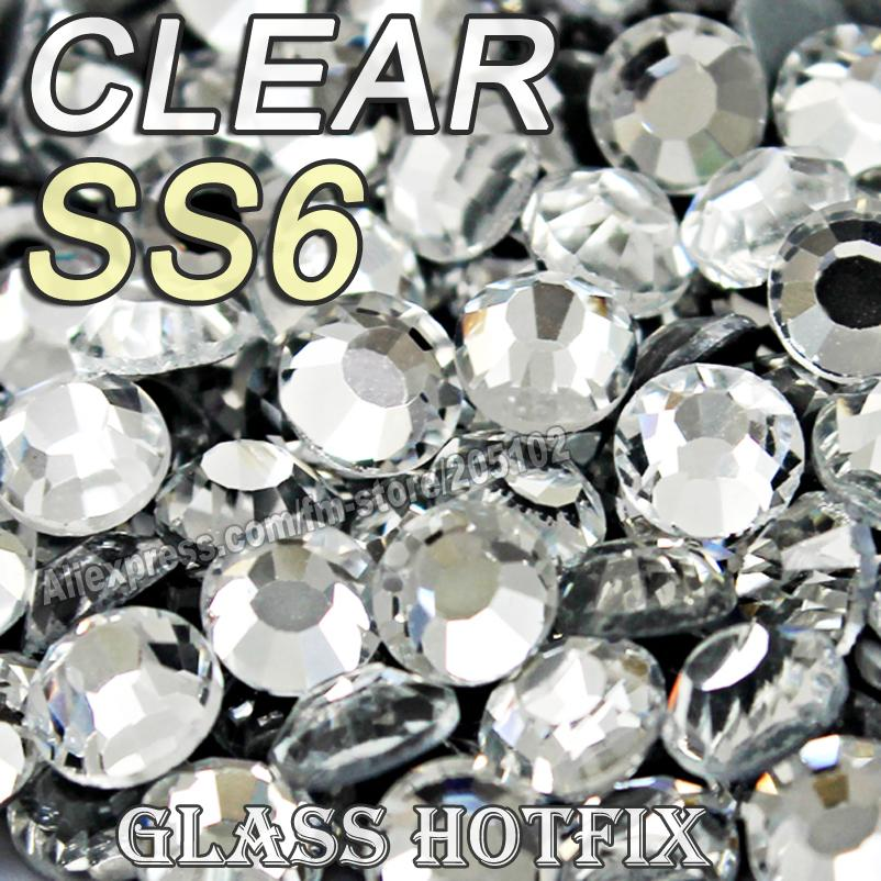 Wholesale SS6  Bag Clear Crystal DMC HotFix FlatBack Rhinestones Glass  Strass 4876d7d6bfba
